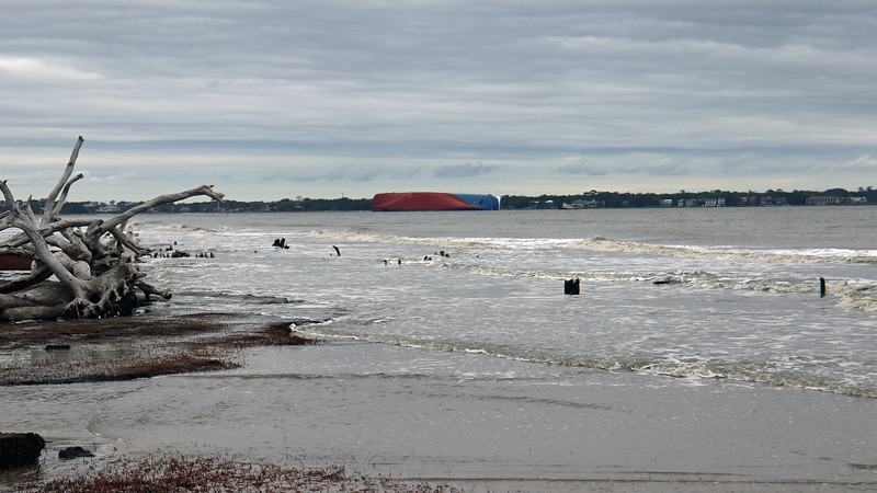 I was hoping Driftwood Beach would give me a good view of the capsized cargo ship, and wasn't disappointed.