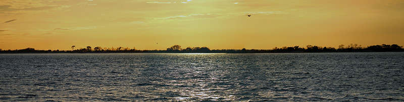 A three-picture panorama looking across Jekyll Sound.
