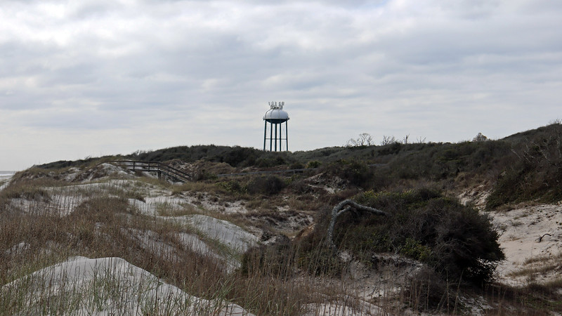 The photo above shows one of several water towers on the island.
