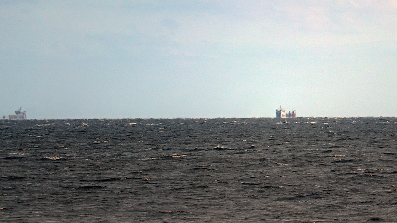 I could also zoom in on a couple of cargo ships off in the distance.