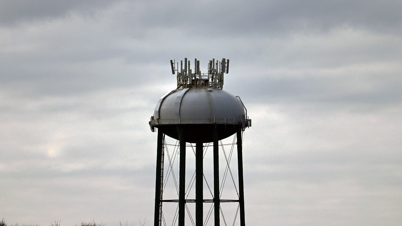 Zooming in on the water tower.