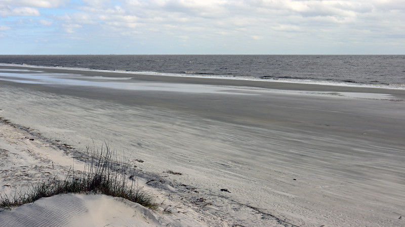 The beach is very wide during low tide.