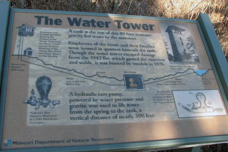 The marker at the Water Tower describes how it fed water to the mansion.