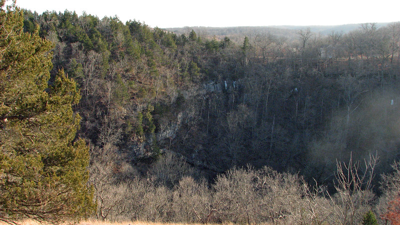 We soon arrived in the parking lot and continued on toward the Water Tower which is accessed via another short trail.  The photos above and below look directly south.  The small building is visible on the top right side of the photo above is the former Ha Ha Tonka Post Office which was established in 1872 and closed in 1937.