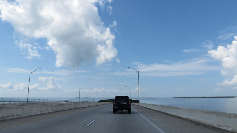 I-275 South heading toward the Sunshine Skyway Bridge, which can be seen in the background.