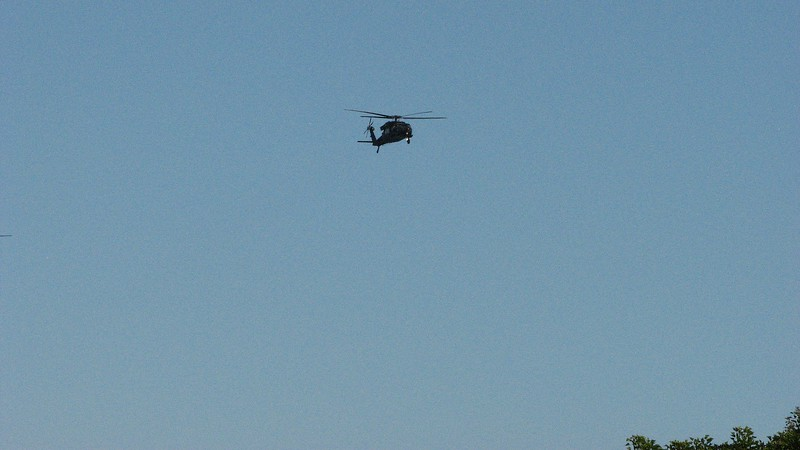 It wasn't long before another military helicopter flew overhead.
