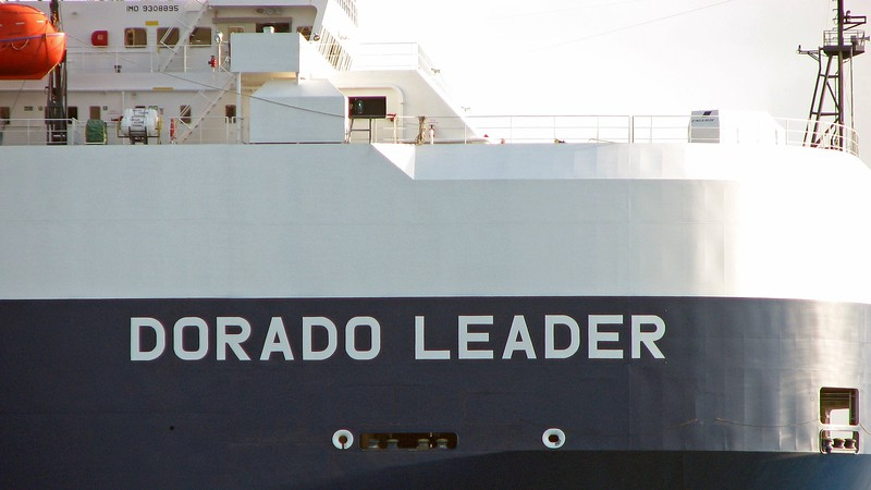 The vessel in question is the Dorado Leader from the Japanese shipping company NYK Line.