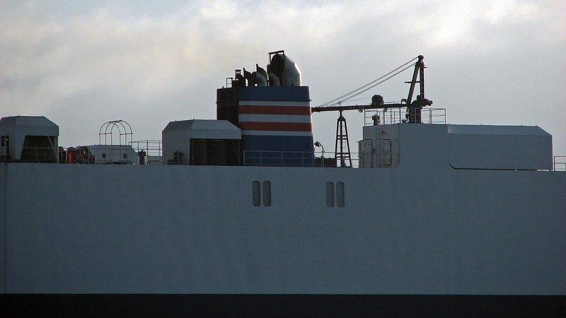 The ship was built in 2006, making it relatively new when this photo was taken in 2009.  At that time, the ship was currently shown to be carrying Mazdas.