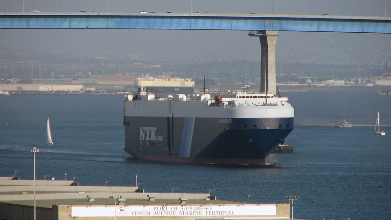I peeked out of my hotel room in San Diego and spotted this giant freighter in San Diego Bay.  The bridge in the background is the Coronado Bridge.