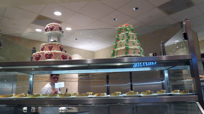 The dessert station is directly across from the Italian station.