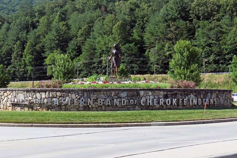 The roundabout at the entrance to Harrah's Cherokee.