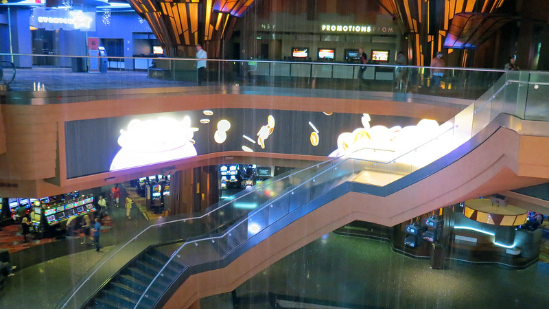 Visitors to the casino are greeted by a large wrap-around video screen.