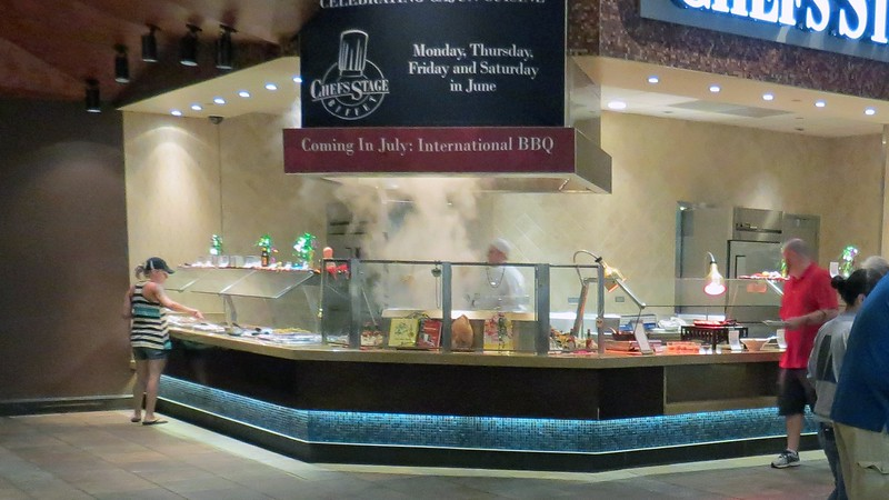 """The """"Chef's Stage Feature"""" station sits at the other end of the buffet area next to the comfort food station.  The theme of this station changes frequently.  Today, it featured seafood."""