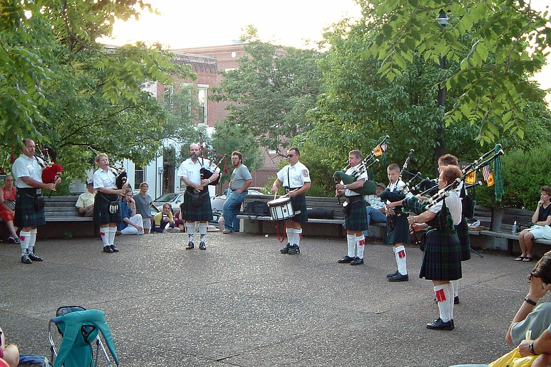 We headed back to our car and came across several musical groups.  This group of bagpipers was playing at a church along Walnut Street.