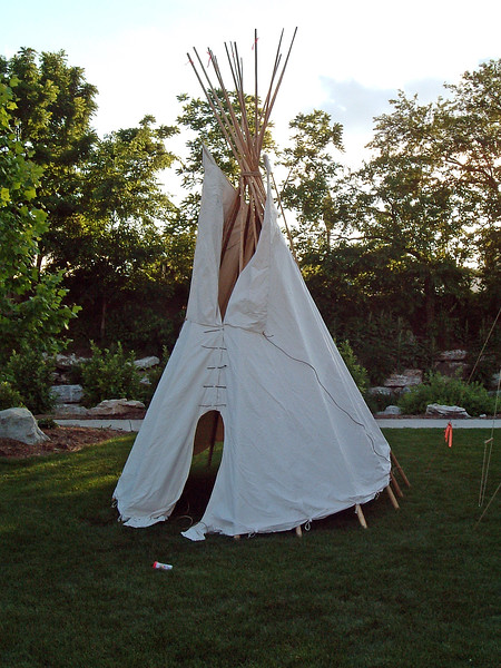 Native American exhibits at Flat Branch Park.