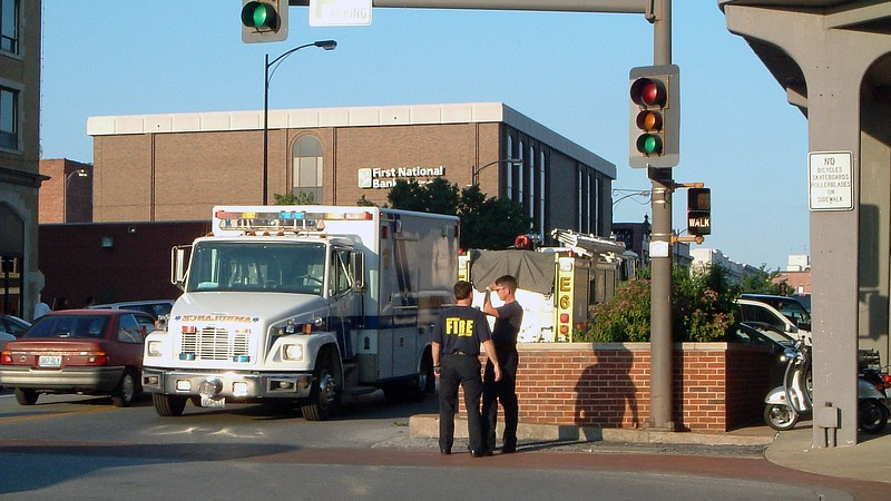 The Fire and Police departments had lots of people and vehicles on display including a couple of rescue vehicles at East Broadway and 7th Street.