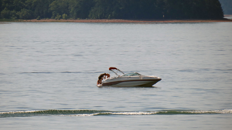 A beautiful summer day translates to a lot of marine traffic on the lake.  Boaters, water skiers, jet skiers, and kayakers were everywhere.