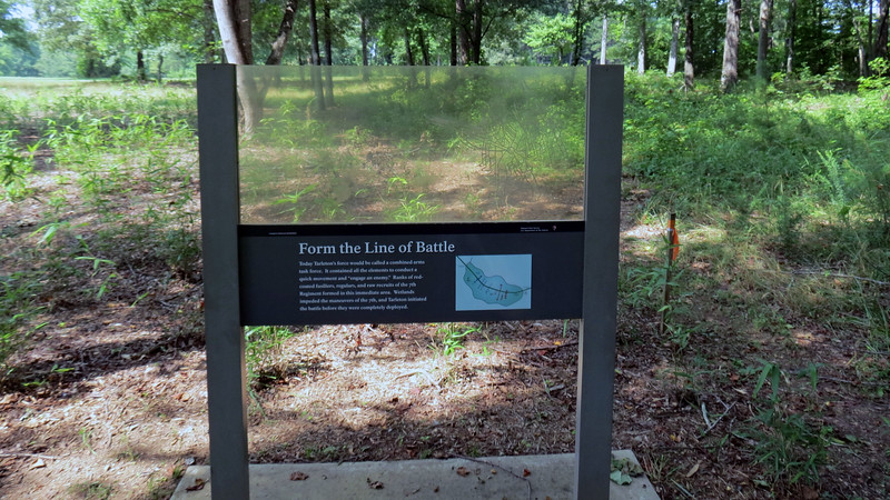 Just past the cane restoration area stood another marker describing the British battle formation line.
