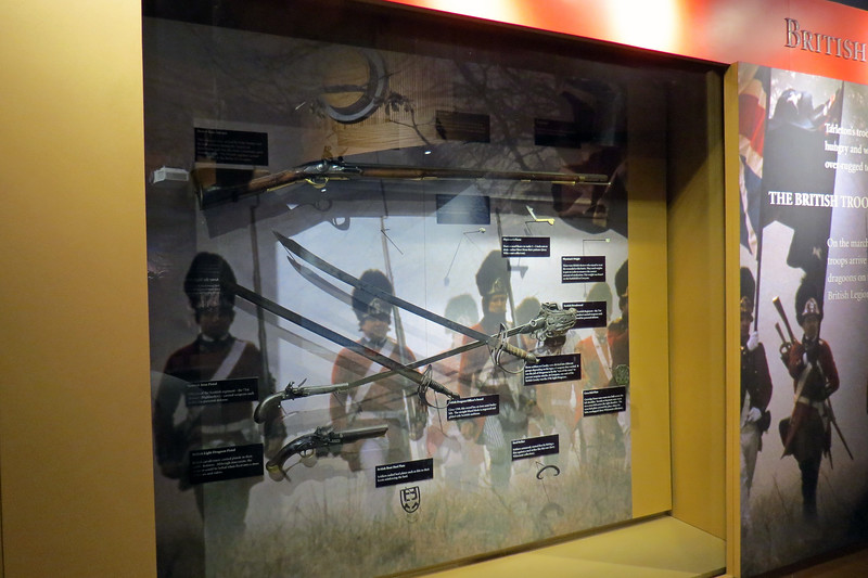 The exhibit seen in the photo above describes the weapons used by the British.