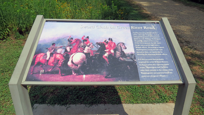 The marker seen in the photo above describes the events that occurred as Tarleton was retreating and being chased by William Washington.