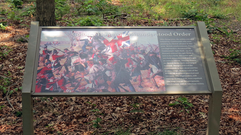 The marker seen in the photo above commemorates the misunderstood order from Lt. Col. John Howard toward the end of the battle that ended up winning the war.  Howard ordered his Continental army to face the attacking British.  But in the confusion and noise of battle, the order was misunderstood as an order to retreat.