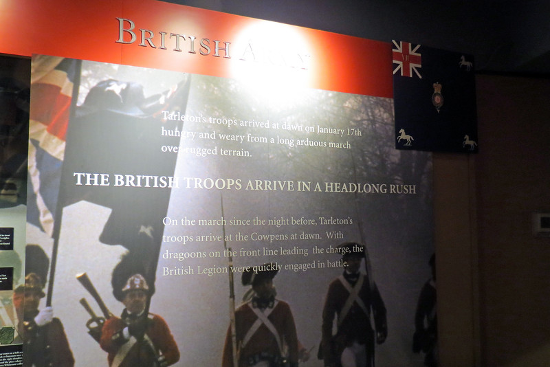 Half of the museum is dedicated to the British and half to the Patriots.  The exhibit seen in the photo above provides information on the British troops.