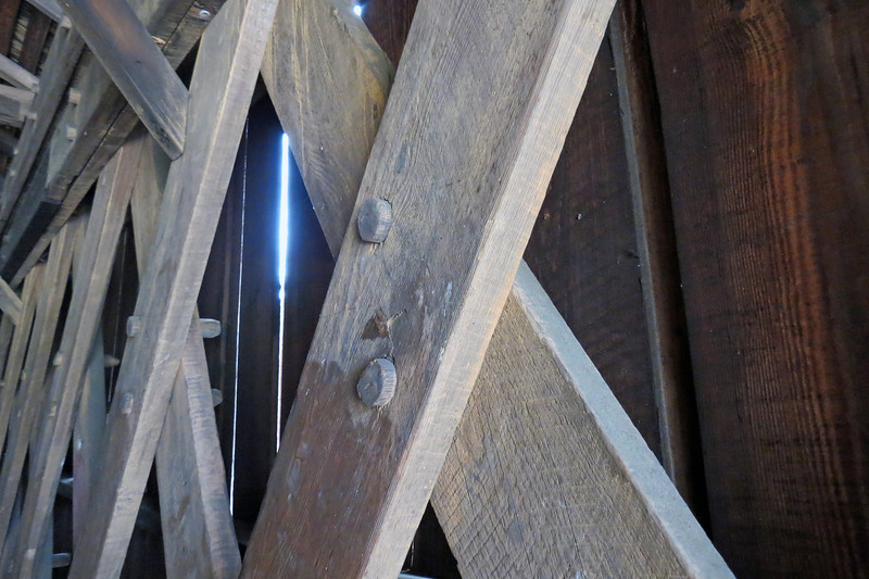 The trusses are held together by wooden pins.