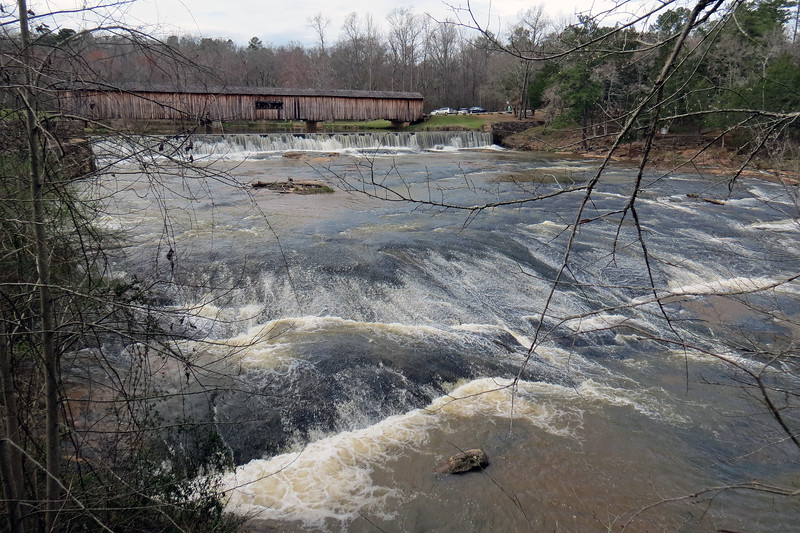 The foot bridge provides a great view of the South Fork of the Broad River downstream of the Watson Mill Bridge.
