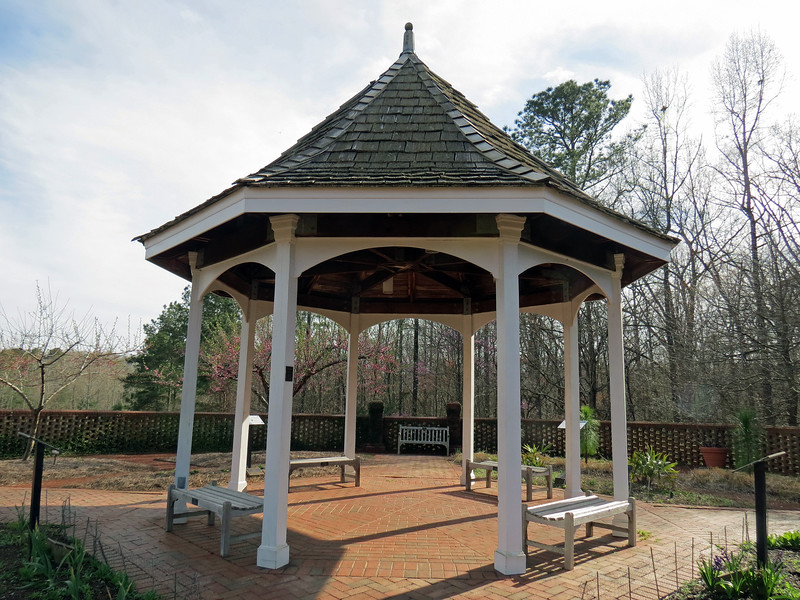 A gazebo in the Heritage Garden.