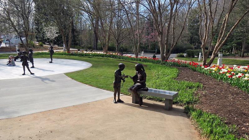Several sculptures in the Garden of Imagination.