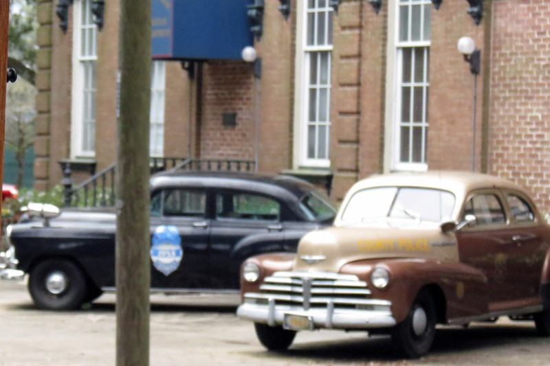 The Savannah Police Department has a few police cars on display in front of their headquarters along Oglethorpe Avenue.  The brown car is a 1948 Chevrolet.