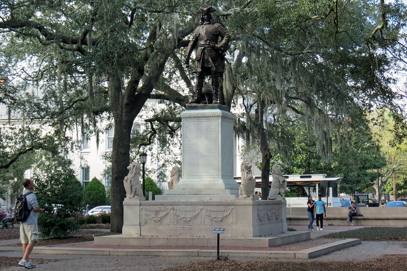 The Oglethorpe Monument faces south following military tradition which states that the person in the monument always faces his enemy.  In this case, Oglethorpe's enemy was Spanish Florida.