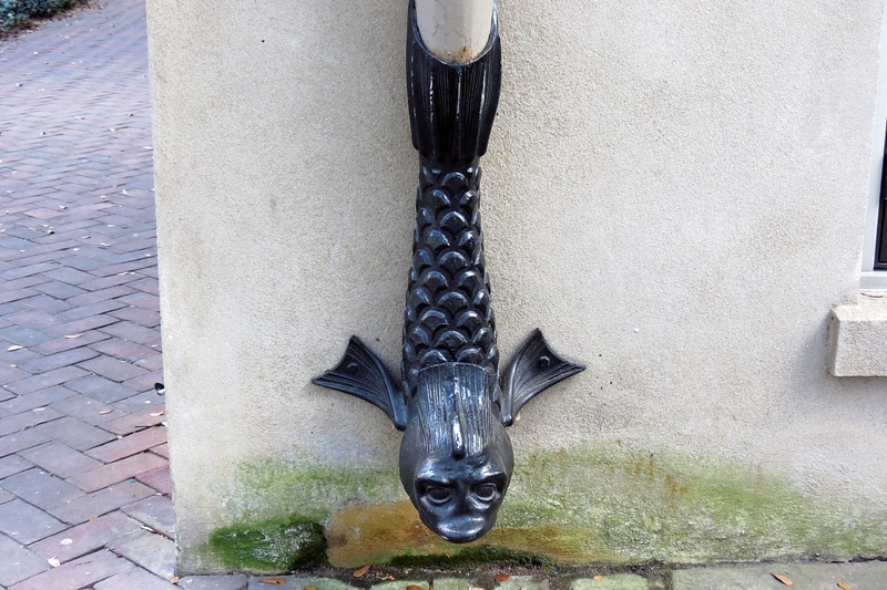 Dr. Waring didn't want to be quite so open about his wealth as some of his neighbors.  Rather than install elaborate iron fencing, Waring opted for cast iron dolphin downspouts.