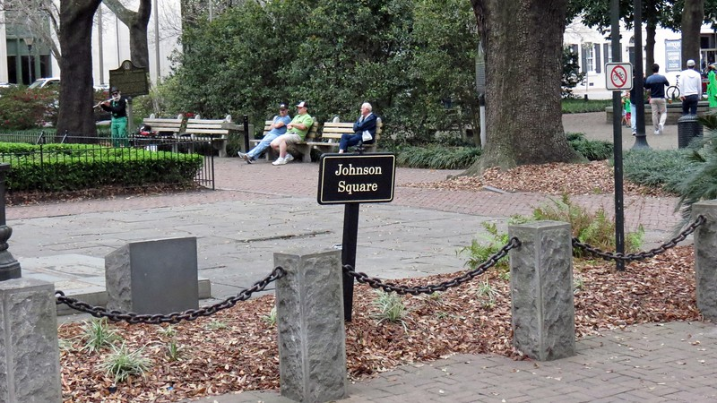 Johnson Square from 1733 was the first of the original squares, and the largest.  The name Johnson refers to Governor Robert Johnson, Governor of what is now South Carolina, and friend of James Oglethorpe and the early settlers of Savannah.