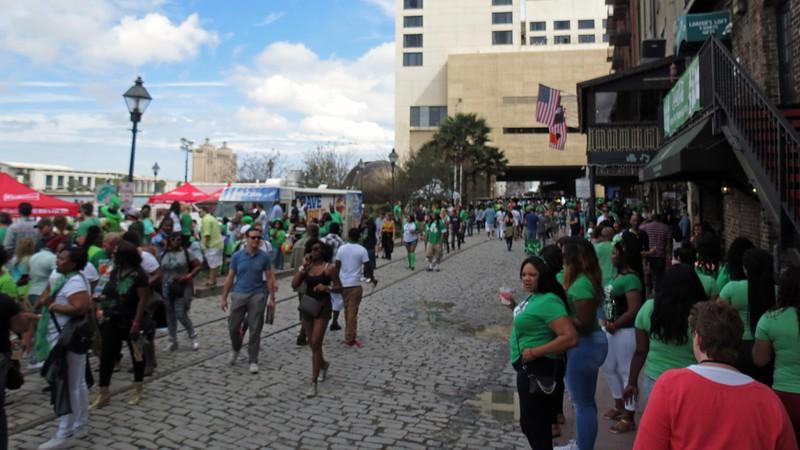 The St. Patrick's Day festivities along the riverfront.