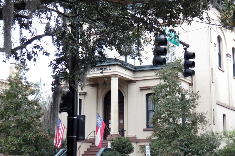 Hodgson Hall from 1876 houses the Georgia Historical Society, one of the oldest continually operating historical societies in the southeastern US.  The name refers to 25-year Curator of the Society William B. Hodgson.