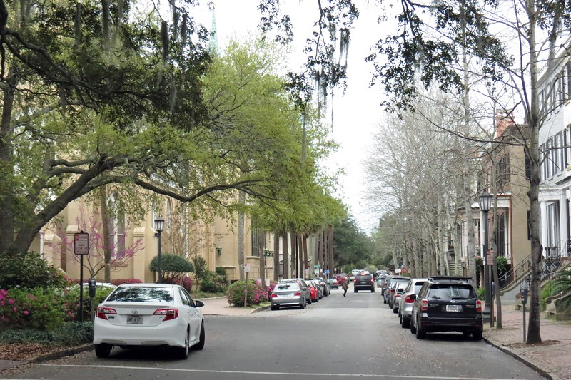Looking East on E. Gordon Street from Monterey Square.  The brown building on the left is the Congregation Mickve Israel synagogue.  The Congregation was organized in 1735.  This building dates from 1878 and is a rare example of Gothic architecture used for a synagogue.