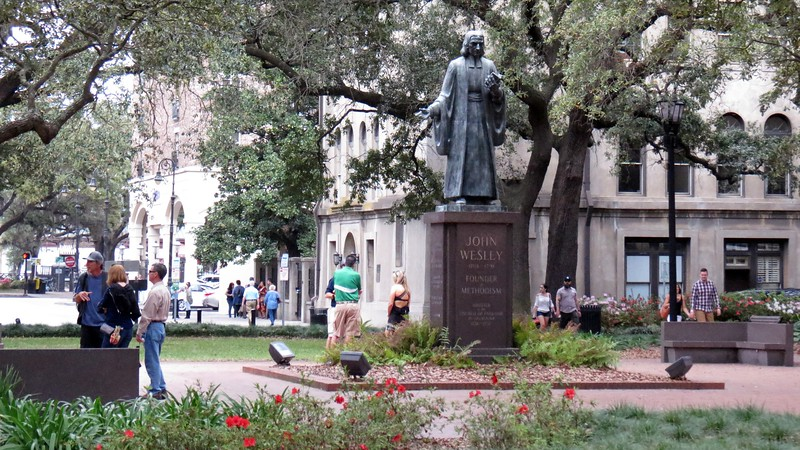 """The centerpiece of Reynolds Square is the John Wesley Monument.  Wesley is acknowledged as the """"founder"""" of Methodism.  He was also one of the first rectors of Savannah's Christ Church."""