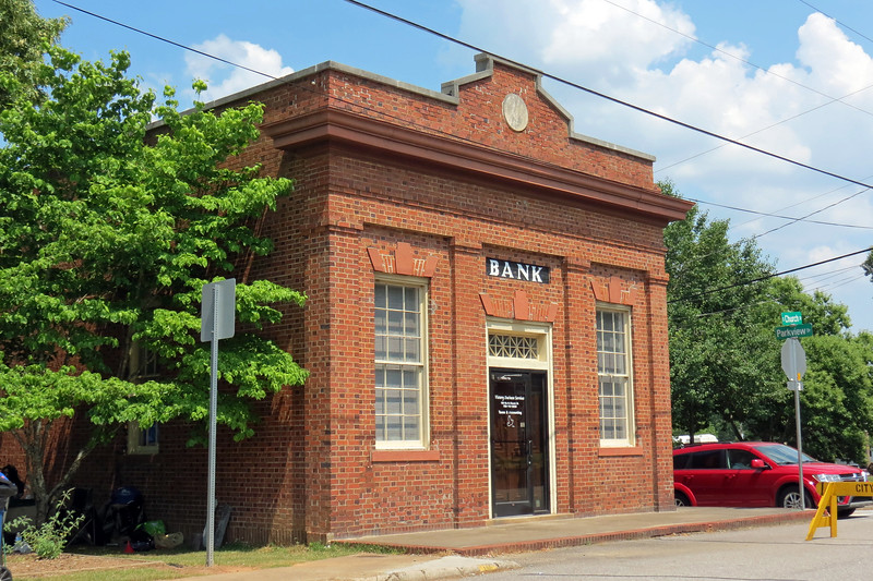 Next to Pittard Park is the old Pittard Bank building.  Built and owned by John Pittard in 1912, it operated as a bank until around 1930.  Later, it also served as the Post Office.