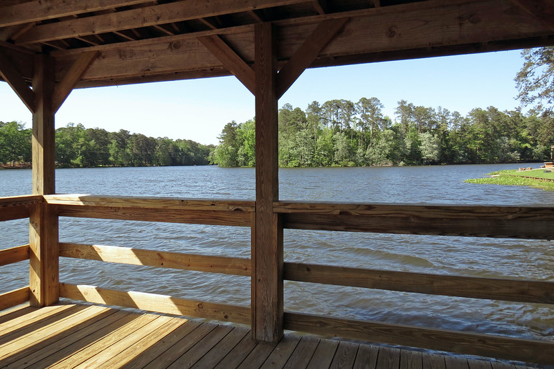 Covered pier at Rock Eagle Lake.