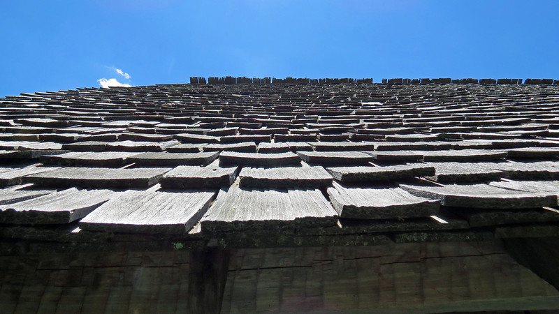 I was standing on the porch of the Davis Cabin looking up at the roof line and thought this view of the hand-cut shingles would make an interesting picture.