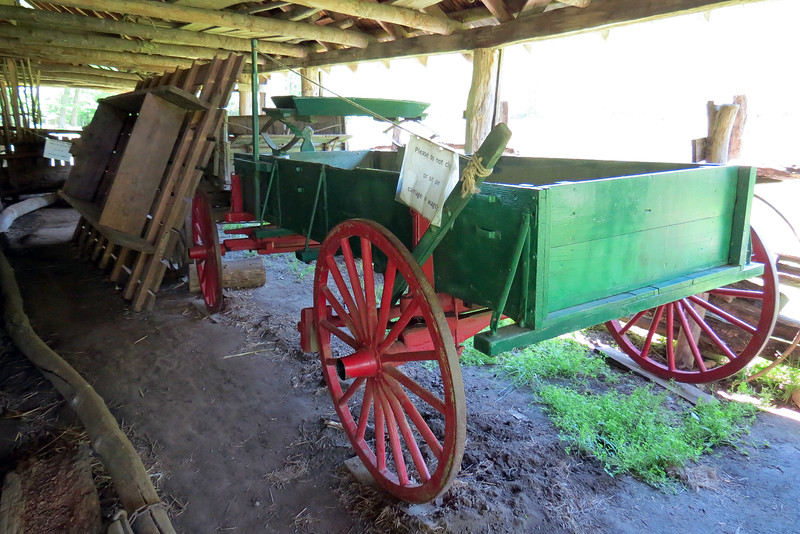 Several period horse-drawn wagons are kept in the Enloe Barn.