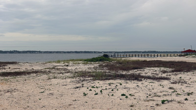 """Looking out over Santa Rosa Sound.  The area across the Sound is the unincorporated community of Navarre.  This """"census-designated place"""" is actually one of the largest in the Panhandle, having almost 45k residents."""