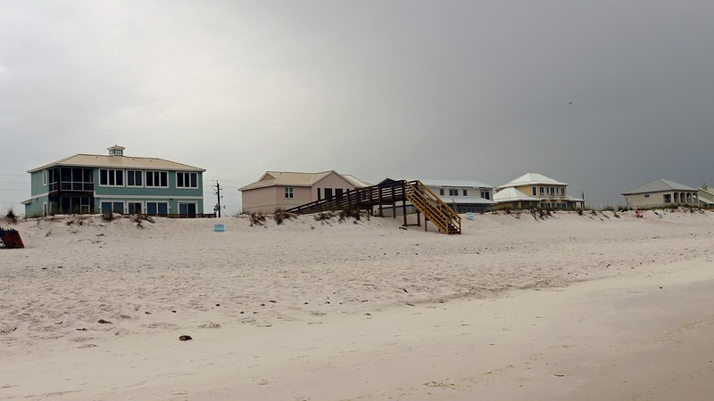 Beachfront homes in Navarre Beach, Florida.