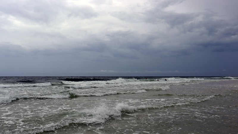 The rain and wind made the water somewhat rough today.