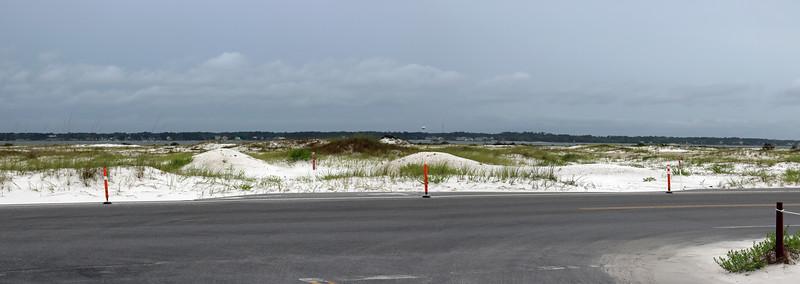 Panorama looking north across Florida Rt. 399 toward Santa Rosa Sound.