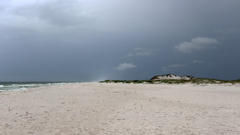 Looking west toward Pensacola Beach and the ominous weather overhead.