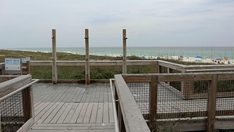 A beach access boardwalk.