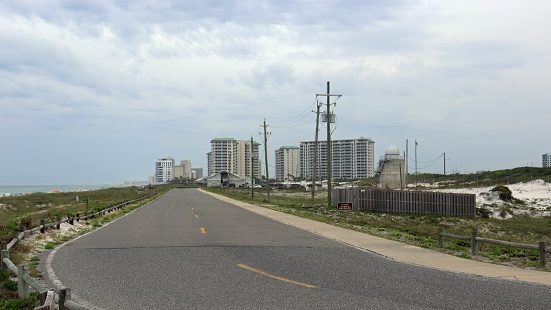 Like everything in this area, Henderson Beach State Park is sandwiched among significant development.  The photo above looks west at the Silver Shells condominium complex.  I headed down that road to see what was there.