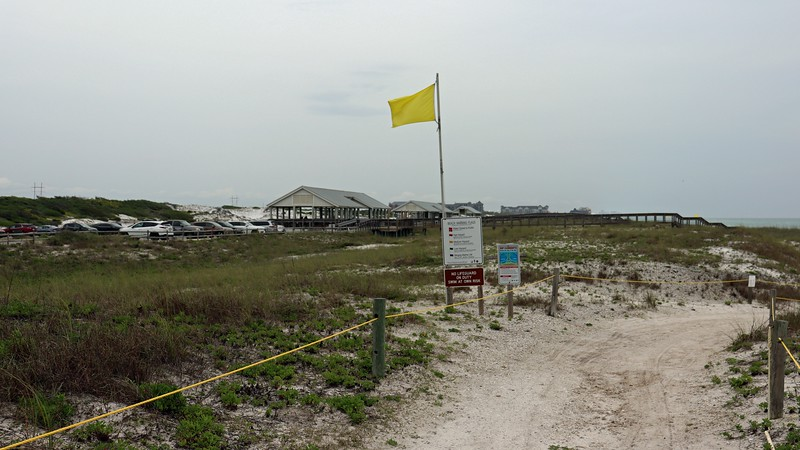 """Yellow flags were posted at all the beach access points.  This indicates a """"Medium"""" hazard for surf and currents.  No warnings were posted for bicyclists, which was good."""